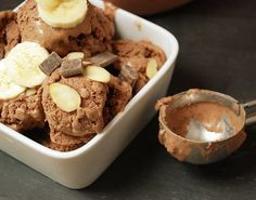 Chocolate Almond Butter Ice Cream - made with coconut milk, mashed banana, and almond butter. Yum!