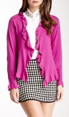 Ruffle Long Sleeve Sweater - longer skirt please