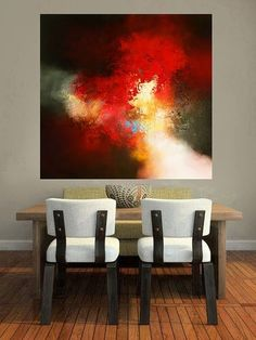 A large modern abstract wall-art painted on canvas. It's
