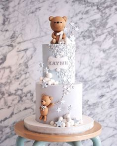 Throwback to this blue and grey themed teddy cake! I used to hate fondant cakes but have learnt to love it over time. Definitely more time consuming but delivery is just less nerve wrecking 🤣 Baby Boy Birthday Cake, Teddy Bear Birthday, 60th Birthday Cakes, Baby Boy Cakes, Baby Shower Cakes, Christening Cake Boy, Teddy Bear Cakes, Teddy Bear Baby Shower, Inspire