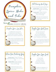 Young Living Fall Make and Take-Free Printables and Recipes essential oil blends young living Fall Essential Oils, Essential Oil Diffuser Blends, Essential Oil Uses, Young Living Essential Oils, Young Living Oils, Essentials, Recipe Sheet, Aromatherapy, Free Printables