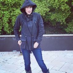 Charlotte Ronson black hooded army jacket Warm, soft hooded army jacket by Charlotte Ronson in a washed out black fabric with leather trim and removable fleece lining. Sold out everywhere. Fitted around the waist with an adjustable cord. Tons of pockets for toting accessories to adventures. Charlotte Ronson Jackets & Coats Utility Jackets