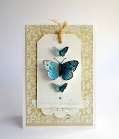 Aga's bold blue butterflies are so lovely! #cards #stamping #butterflies