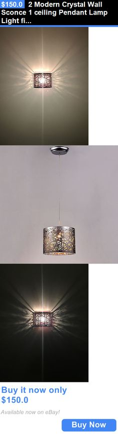 Lamps And Lighting: 2 Modern Crystal Wall Sconce 1 Ceiling Pendant Lamp Light Fixtures Oil Rubbed Br BUY IT NOW ONLY: $150.0