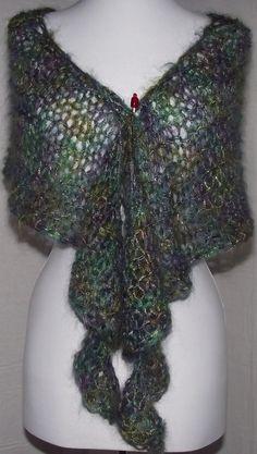 Hand Knit Shawl Stole Scarf Lacy Teal Purple Fiesta La by knitme1, $51.00