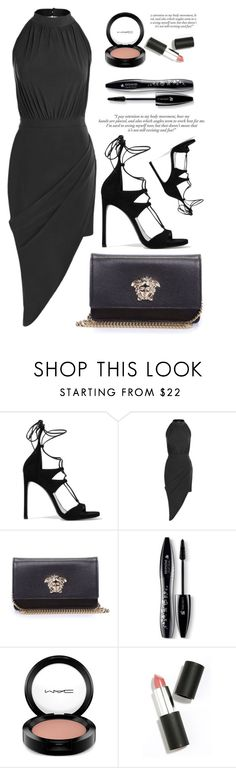 """All Black"" by luvsassyselfie ❤ liked on Polyvore featuring Stuart Weitzman, Versace, Lancôme, MAC Cosmetics, Sigma Beauty and black"