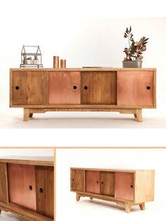 Enfilade scandinave cuivre et bois http://www.homelisty.com/sweet-mango-meubles-cuivre-bois/