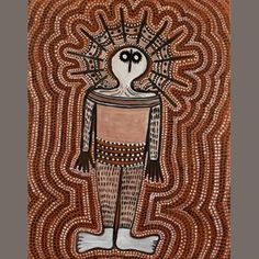 Wanjina, Derek Oobagooma; a symbolic depiction of an Australian Aboriginal water spirit; the halo may represent a cloud, and the ray-like lines, lightning. (Bonhams)