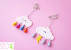 Nuvolette kawaii in fimo - Kawaii fimo clouds by SweetBioDesign