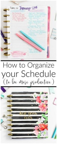 Tips to organize your schedule to get more done everyday, plus free time-block printable. Organize Your Life, Organizing Your Home, Organizing Ideas, Daily Schedule Printable, Daily Schedules, Mom Schedule, Cleaning Schedules, Daily Routines, Planner Organization