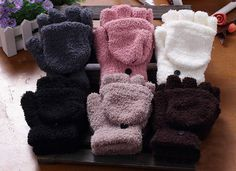 Pair Of Sweet Cashmere Hooded Winter Gloves With Exposed Fingers For Women Cheap Accessories, Fashion Accessories, Accessories Online, Vintage Accessories, Hair Accessories, Winter Gloves, Winter Hats, Winter Wear, Cashmere Gloves