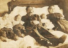 Post Mortem : This is a photograph of Carrie L. Parsons, wife and three children murdered by Joseph Hamilton about two miles east of Success, MO on Friday October the