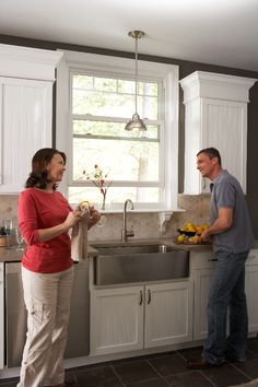 Single double hung window replacement for kitchen. Window Over Sink, Kitchen Sink Window, Kitchen Cabinets, Kitchen Windows, Double Hung Windows, Window Replacement, Window Styles, House Windows, Window Design