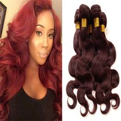 Brazilian Burgundy Body Wave 3 Bundles - Hair-N-Paris Human Virgin Hair @ Hairnparis.com sales@hairnparis.com 1-800-496-4322