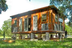 Reclaimed Space cabin. I love everything about this cabin. I need to see if you can buy the plans.