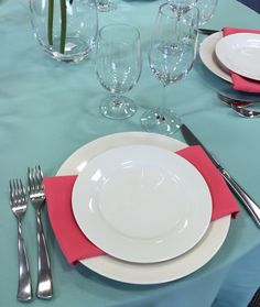 Ivory rimmed china with melon napkins