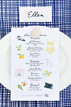 Illustrated menu.