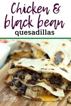 So simple and easy, you will love these chicken and black bean quesadillas! Great for a quick lunch, a light dinner, or a party appetizer, it's a crowd pleaser. #blackbeanandchickenquesadillarecipe #quesadillas #easyrecipe Chicken And Black Bean Quesadilla Recipe, Quesadilla Recipes, Ground Beef Recipes Mexican, Healthy Mexican Recipes, Healthy Snacks, Easy Appetizer Recipes, Appetizers For Party, Dinner Recipes, Dinner Ideas