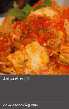 Jollof rice | Jollof rice, or ceebu jen as it's known in Senegal, is perhaps the best known West African dish because it's delicious, colourful and easy to prepare. It is a little like an African paella made from parboiled long-grain rice, vegetables and meat but without any butter or wine added. It is delicious served hot with fried plantain slices.The recipe calls for African mint (efiri), which you can buy in some plant nurseries– if you can't get it, simply leave it out of the recipe. If y Easy Rice Recipes, Chili Recipes, Fish Recipes, Indian Food Recipes, Ethnic Recipes, Meal Recipes, Rice Dishes, Food Dishes, Fish Batter Recipe