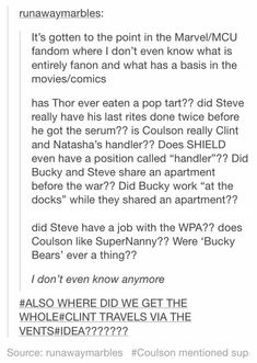 <><> SRSLY. I want to know about those two Bucky and Steve headcanons, 'cause I've seen them in SO MANY FICS.