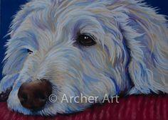 Original Pastel Painting Dog Labradoodle by ArcherArtwork, £25.00
