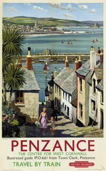 Travel poster art depicting West Cornwall's Penzance (from Newlyn) as a destination of choice for travellers on British Railways, United Kingdom, by Harry Riley. Posters Uk, Train Posters, Railway Posters, Retro Posters, British Travel, British Seaside, British Isles, Tourism Poster, Le Far West
