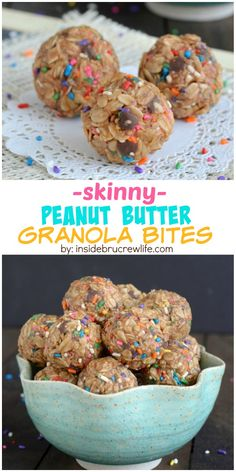 These easy no bake granola bites are light and healthy. Great for snacking on when that sugar craving hits! **I added a tablespoon of vanilla protein powder instead of using vanilla. Snack Recipes, Dessert Recipes, Cooking Recipes, Easy Cooking, Healthy Cooking, Fruit Dessert, Granola Bites, Road Trip Food, Peanut Butter Granola