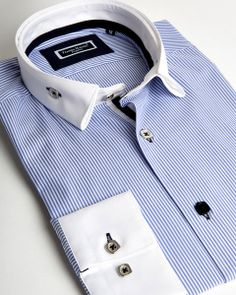Franck Michel shirt | Light blue reverse collar shirt with white contrasting lines | fashion-shirts.com