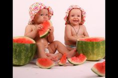 Twins  and watermelon, Toronto baby photographer,