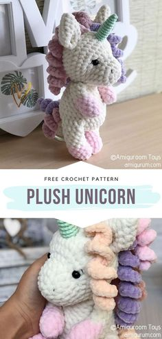 Plush Unicorn Free Crochet Pattern Amigurumi projects always get even more charming if we use a special kind of yarn. This plush cutie certainly proves that! Which kid wouldn't love to fall asleep every night cuddling this soft magical creature? Crochet Teddy, Cute Crochet, Crochet For Kids, Crochet Dolls, Crochet Baby, Crochet Amigurumi Free Patterns, Knitting Patterns, Crochet Unicorn, Stuffed Animal Patterns