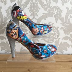 These collaged Captain America pumps. | 17 Gorgeous And Geeky Pairs Of High Heels
