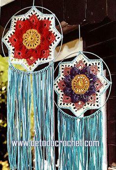Mandala crochet atrapasueño con molde y paso a paso