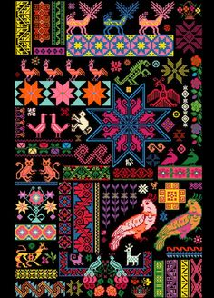 Cross stitch inspiration.  Mexican Sampler Chart put together using traditional Mexican textile patterns