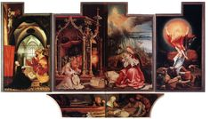 Menswording en Opstanding ~ Binnenzijde van het Isenheimer altaarstuk ~ 1. Links: De verkondiging aan Maria (269 x 143 cm.) 2. Midden: De aanbidding van het Kind (269 x 304 cm.) 3. Rechts: De opstanding van Christus (269 x 143 cm.) 4. Predella: Bewening van de dode Christus ~ ca. 1514 ~ Olieverf op hout ~  Musée d'Unterlinden, Colmar
