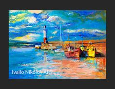 Original Oil Painting on Canvas-Boats Reflections - Modern Impressionism-Oil on Canvas by Ivailo Nikolov by IvailoNikolov on Etsy