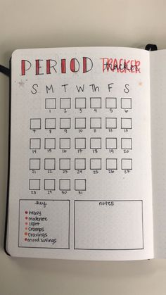 Monthly bullet journal period tracker