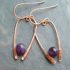 Modern Jewelry Copper Hoop Earrings Amethyst by ArtistiKat on Etsy, $25.95