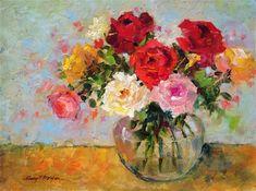 "Daily Paintworks - ""Radiant Roses"" - Original Fine Art for Sale - © Nancy F. Morgan"