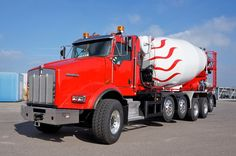Truck mixers of superlatives:  We currently deliver four truly exceptional truck mixers to Jordan. It is our largest model HTM 1504 on a Kenworth T800 chassis. This chassis has got six axes, of which three are configured as steerable lift axles!  This impressive truck mixer itself has an empty weight of about 18 tons and fully loaded weighs about 55 tons! ... Mix Concrete, Concrete Mixers, Cement Mixer Truck, Oil Platform, Oil Tanker, Heavy Duty Trucks, Kenworth Trucks, Classic Trucks, Semi Trucks