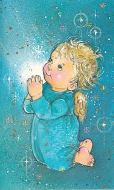 Vintage Greeting Cards, Vintage Christmas Cards, Christmas Greeting Cards, Christmas Greetings, Christmas Angels, Christmas Art, Angel Illustration, Vintage Postcards, Animal Drawings