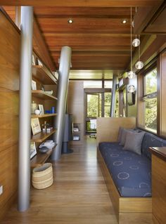 Chic Tree   Inside Rockefeller Partners Architects' Brentwood Hills treehouse, a water closet, daybed and display shelves...