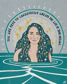 You are free to consciously create the life of your dreams, gorgeous teal art print with beautiful woman by Asja Boros. Positive Affirmations, Positive Quotes, Positive Art, Montag Motivation, Workout Motivation, Quotes Motivation, Citations Yoga, Citations Business, Pretty Words