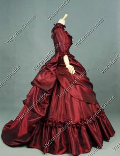 New Victorian French Bustle Ball Gown. 1 matching bustle skirt attachment with button fastening (satin). Graceful cascading bustle skirt attachment in back. 1 Victorian lace up bodice (satin). Beautiful Victorian quarter sleeve, ruffle hem crossover bodice. | eBay!