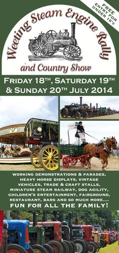 Here's the new flyer design for the Weeting Steam Engine Rally & Country Show for 2014 - it's always a great weekend with so much to see and do...photos used are all taken by me :o)