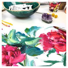 We're painting up a rose storm in the studio for some new designs for our *Red Bloom* story.