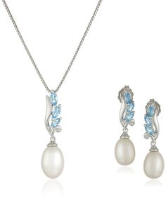 Sterling Silver Swiss Blue Topaz and Freshwater Cultured Pearl Necklace and Earrings Jewelry Set * Read more reviews of the product by visiting the link on the image.