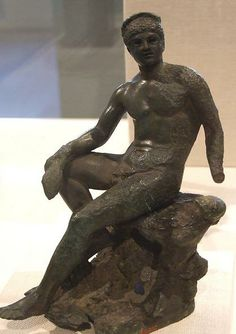 """Bronze Statue of """"Hermes Seated on a Rock"""" - Roman period 2th century AD, at the Metropolitan Museum of Art, NY"""