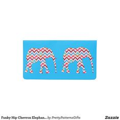 Funky Hipster Chevron Elephants Teal Checkbook Covers