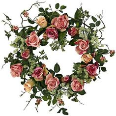 Peach Rose with Green Foliage Faux Floral Wreath