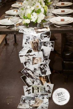 34 DIY Wedding Decor Ideas For The Bride on A Budget DIY Wedding Decor - DIY Photo Table Runner - Easy and Cheap Project Ideas with Things Found in Dollar Stores - Simple an. Anniversary Parties, Wedding Anniversary, Parents Anniversary, Anniversary Dinner, Silver Anniversary, Anniversary Ideas, Diy Photo, Photo Baby, Photo Craft